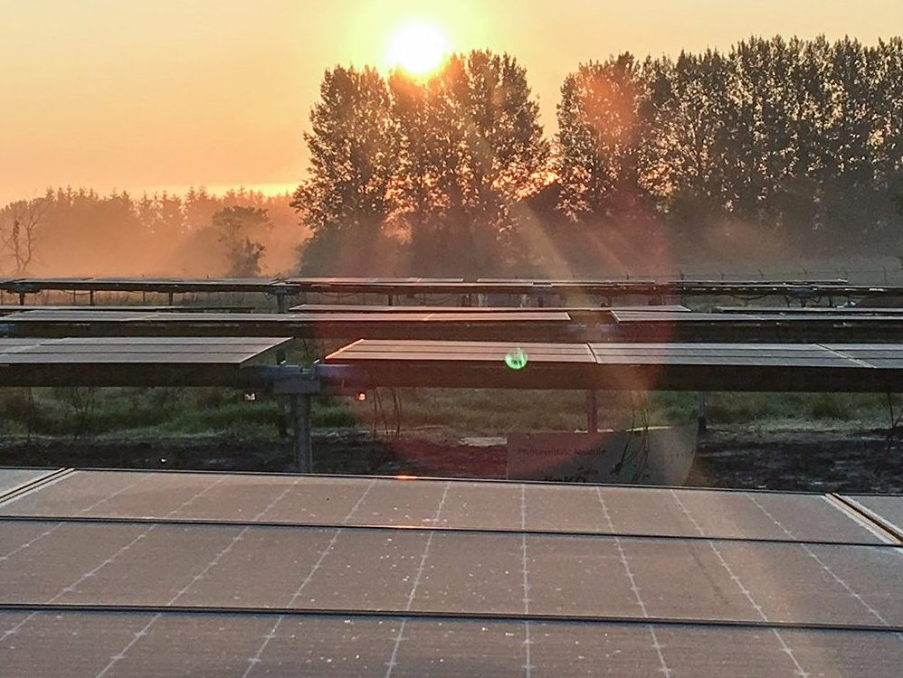 Solar Project in front of sunset